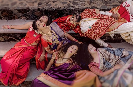A fun shot with bride, bridegroom & bridesmaid on her wedding in Angana The Courtyard